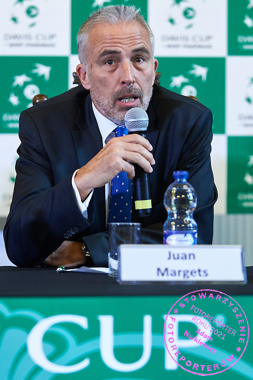 GDANSK, POLAND - 2016 MARCH 03: Juan Margets International Tennis Federation (ITF) executive vice president speaks while press conference one day before the Davies Cup / World Group 1st round tennis match between Poland and Argentina at Ergo Arena on March 3, 2016 in Gdansk, Poland<br /> <br /> Picture also available in RAW (NEF) or TIFF format on special request.<br /> <br /> Any editorial, commercial or promotional use requires written permission.<br /> <br /> Mandatory credit:<br /> Photo by &copy; Adam Nurkiewicz / Mediasport