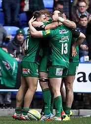 London Irish celebrate their third try - Photo mandatory by-line: Robbie Stephenson/JMP - Mobile: 07966 386802 - 28/03/2015 - SPORT - Rugby - Reading - Madejski Stadium - London Irish v Newcastle Falcons - Aviva Premiership