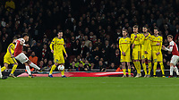 Football - 2018 / 2019 UEFA Europa League - Round of Thirty-Two, Second Leg: Arsenal (0) vs. BATE Borisov (1)<br /> <br /> Pierre-Emerick Aubameyang (Arsenal FC) tries his luck from a free kick at The Emirates.<br /> <br /> COLORSPORT/DANIEL BEARHAM