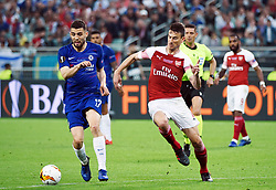 BAKU, May 30, 2019  Mateo Kovacic (L, front) of Chelsea vies with Laurent Koscielny (R, front) of Arsenal during the UEFA Europa League final match between Chelsea and Arsenal in Baku, Azerbaijan, May 29, 2019. Chelsea won 4-1. (Credit Image: © Tofik Babayev/Xinhua via ZUMA Wire)