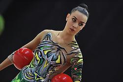 July 28, 2018 - Chieti, Abruzzo, Italy - Rhythmic gymnast Alessia Maurelli captain of team of Italy during the Rhythmic Gymnastics pre World Championship Italy-Ukraine-Germany at Palatricalle on 29th of July 2018 in Chieti Italy. (Credit Image: © Franco Romano/NurPhoto via ZUMA Press)