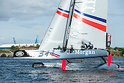 JP Morgan, BAR, day one of the Cardiff Extreme Sailing Series Regatta. 22/8/2014