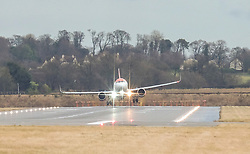 High Winds at Edinburgh Airport, Tuesday 7th January 2020<br /> <br /> Planes struggled on landing and take-off as high winds hit Edinburgh Airport today<br /> <br /> Pictured: An EasyJet flight struggles as it comes in to land<br /> <br /> Alex Todd | Edinburgh Elite media