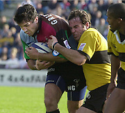 Intersport Images. .Photo: Peter Spurrier.Zurich Premiership - NEC Harlequins v London Wasps..Wasps's, Fraser Water, tackles Nick Greenwood... ...........[Mandatory Credit, Peter Spurrier/ Intersport Images][Mandatory Credit, Peter Spurrier/ Intersport Images]
