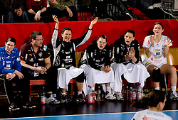 Players  of Leipzig during 2nd Round of Group 1 at Women Champions League handball match between RK Krim Mercator, Ljubljana and HC Leipzig, Germany on February 13, 2010 in Arena Kodeljevo, Ljubljana, Slovenia. Krim defeated  Leipzig 32-26. (Photo by Vid Ponikvar / Sportida)