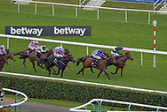 Bravery ridden by Danny Tudhope (farside is dark blue in lead) wins Betway Lincoln handicap  during the Betway Lincoln meeting at Doncaster Racecourse, Doncaster<br /> Picture by Martin Lynch/Focus Images Ltd 07501333150<br /> 01/04/2017