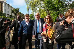 © Licensed to London News Pictures. 10/05/2019. London, UK. Guy Verhofstadt, the EU Parliament's representative on Brexit and the Leader of the Alliance of Liberals and Democrats for Europe joins Vince Cable canvassing in Camden, north London for the Liberal Democrats European Union election campaign. Britain must hold European Parliament elections on 23rd May 2019 or leave the European Union with no deal on 1st June 2019 after Brexit was delayed until 31st October 2019, as Prime Minister, Theresa May failed to get her Brexit deal approved by Parliament. Photo credit: Dinendra Haria/LNP