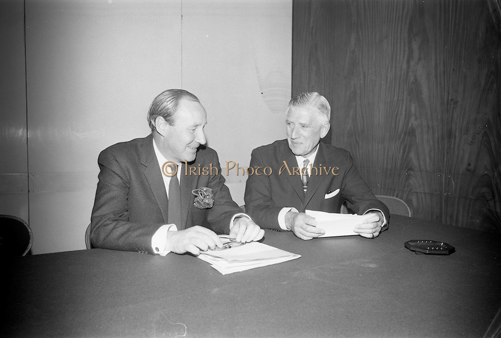 22/08/1966<br /> 08/28/1966<br /> 22 August 1966<br /> Press conference to announce an alliance of three Irish Banks at the Intercontinental Hotel, Dublin. The Boards of the Munster and Leinster Bank Ltd.; Provincial Bank of Ireland Ltd. and the Royal Bank Of ireland Ltd. announced the scheme for the alliance creating a new Irish Banking Group that became Allied Irish Bank, AIB. Each bank was to retain its own identity within the group. Picture shows: Mr. E.M.R. O'Driscoll, Belfast, Chairman of the new company and Partner of Walter J. Richardson and Co., Stockbrokers, Belfast and Director of Munster and Leinster Bank Ltd. with Mr. C.F. Murphy, Chairman of Munster and Leinster Bank Ltd.