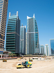 View of modern high-rise apartment towers at Jumeirah Lakes Towers (JLT) at New Dubai in UAE