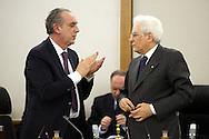 Rome 11th 022015, new president of the republic visits. In the picture vice president Mr Giovanni Legnini and Mr Sergio Mattarella