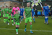 Mascot with Forest Green Rovers Joseph Mills(23) during the The FA Cup match between Forest Green Rovers and Carlisle United at the New Lawn, Forest Green, United Kingdom on 30 November 2019.