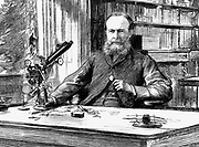John Lubbock, lst  Baron Avebury (1834-1913) English banker, scientist and Liberal politician. Lubbock by window in his library working with a binocular microscope. Engraving published London 1884
