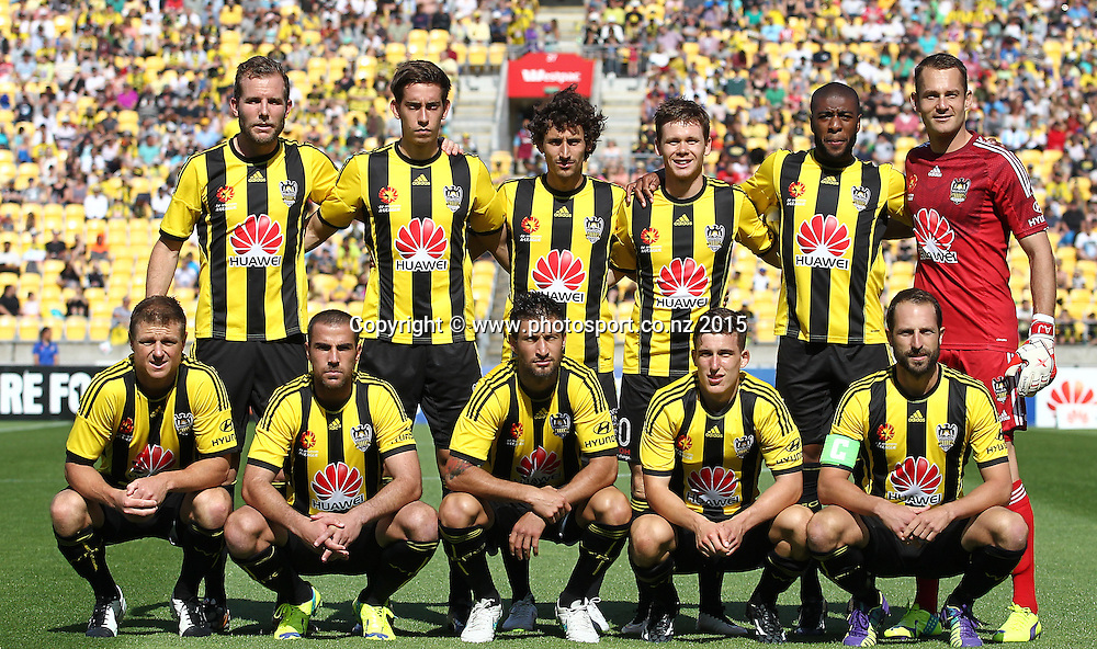 Phoenix pre game team shot during the A-League football match between the Wellington Phoenix & Brisbane Roar at Westpac Stadium, Wellington. 4th January 2015. Photo.: Grant Down / www.photosport.co.nz
