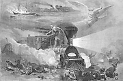 """""""The horrors of Travel"""" 19th century rail (train) and ship travel . Death and destruction with the new technology. Angels hover as the Grim Reaper rides the train. Harper's Weekly Sept. 23rd, 1865."""