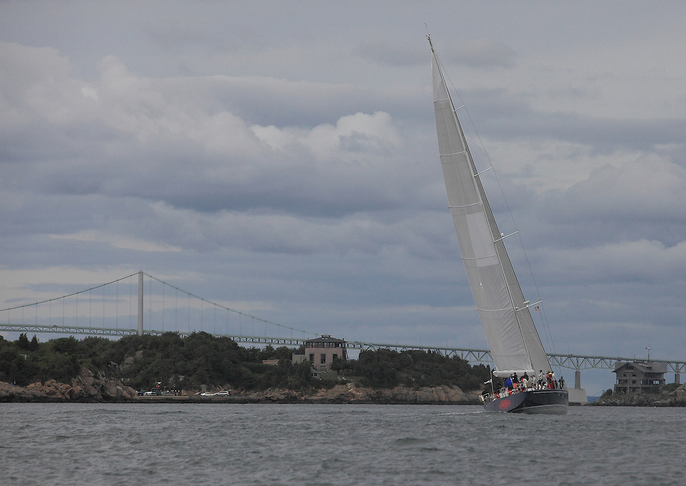 S/Y Clevelander finishes at the 2010 Newport Bucket. Super yachts racing in the 2010 Newport Bucket.