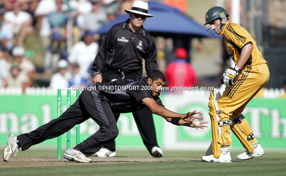 New Zealand's Jeetan Patel fields during the 3rd Chappell Hadlee one day match at Seddon Park, Hamilton, New Zealand on Tuesday 20 February 2007. Photo: Andrew Cornaga/PHOTOSPORT<br /><br /><br />200207