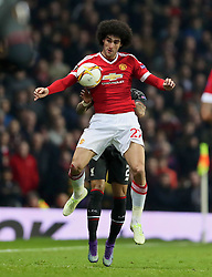 MANCHESTER, ENGLAND - Wednesday, March 16, 2016: Manchester United's Marouane Fellaini in action against Liverpool during the UEFA Europa League Round of 16 2nd Leg match at Old Trafford. (Pic by David Rawcliffe/Propaganda)