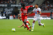 Firmin MUBELE(STADE RENNAIS FOOTBALL CLUB) gave it hand in the face of Kenny TETE (Olympique Lyonnais), Lucas TOUSART (Olympique Lyonnais) falled on the floor during the French championship L1 football match between Rennes v Lyon, on August 11, 2017 at Roazhon Park stadium in Rennes, France - Photo Stephane Allaman / ProSportsImages / DPPI