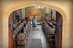 "21/05/2010..The soldiers attend a service in the Chapel Royal of St Peter Ad Vincula...An historic medal presentation took place at the Tower of London. It is the first presentation of its kind ever to be held there.....150 mainly Royal Signals Officers and Soldiers who have just returned from Afghanistan were presented their Afghan Medals by General Cima, the Governor of The Tower of London. The men and women are part of 11 Light Brigade who have had a successful tour working with the local population in Afghanistan. ..In a chapel service for the soldiers in the Queens Chapel Padre Mark Christian reflected on the months gone past, the role completed and on friends and colleague lost and injured. ..Family and friends crowded around the presentation and cheered and applauded. General Cima in an address to the gathering said it ..""...had been a bloody and brutal war, probably the worst the country has been involved in since Korea"" he went on to say that the soldiers should be 'thoroughly proud of themselves"" before saluting them..."