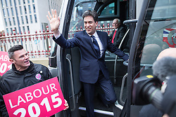 © Licensed to London News Pictures .31/03/2015 . Manchester , UK . ED MILIBAND , the leader of the Labour Party , at Manchester Piccadilly station, on the Labour Party election battle bus at the start of his campaign to be the next British Prime Minister . Photo credit : Joel Goodman/LNP