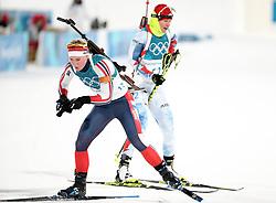 PYEONGCHANG, Feb. 10, 2018  Norway's Marte Olsbu (L) and Czech Republic's Veronika Vitkova compete during the women's 7.5 km sprint biathlon event on the 2018 Pyeongchang Winter Olympic Games at Alpensia Biathlong Centre, PyeongChang, South Korea, Feb. 10, 2018. (Credit Image: © Bai Xuefei/Xinhua via ZUMA Wire)