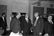 18/06/1963.06/18/1963.18 June 1963.Opening of Burroughs Business Efficiency Exhibition at the Royal Hibernian Hotel, Dublin. The exhibition displayed various models of Burroughs management machines. The highlight was the F4000 Electronic Accounting System - The Sensitronic.. (l-r) Mr M. Murdock (Chief Accountant- A. Guinness Son and Co.), Mr. J. Geddes, Burroughs General Manager for Ireland andMr R.J. Buttimore, Burroughs Service Manager for Ireland.