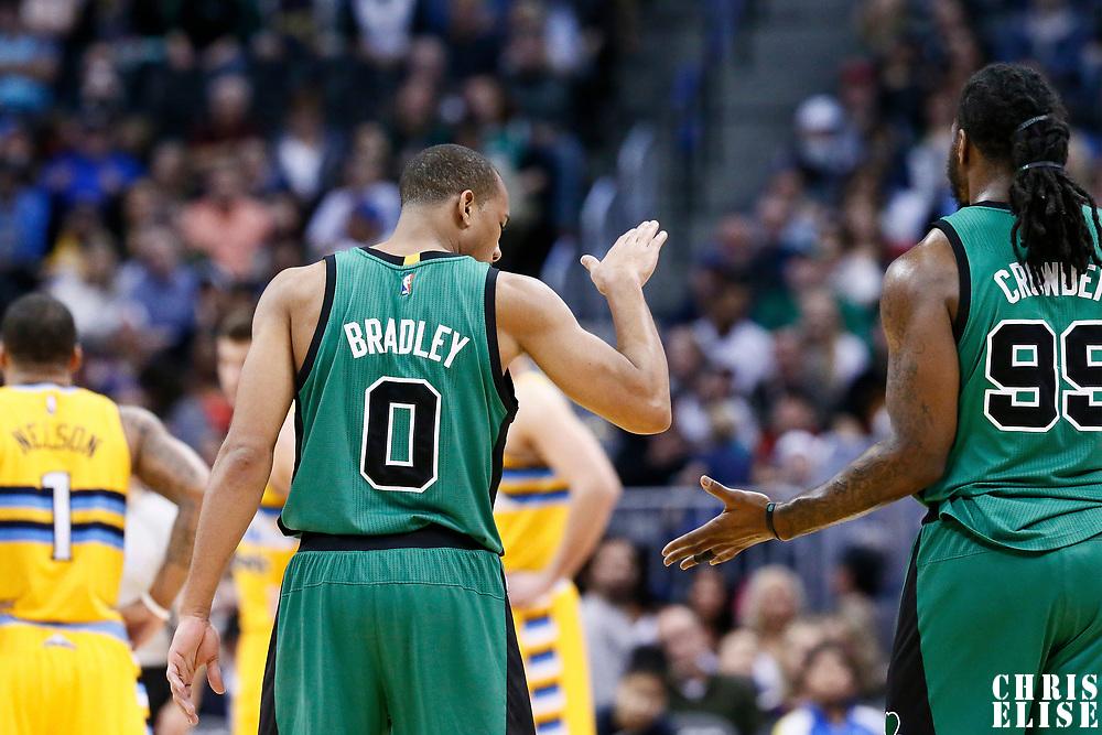 10 March 2017: Boston Celtics guard Avery Bradley (0) is congratulated by Boston Celtics forward Jae Crowder (99) during the Denver Nuggets 119-99 victory over the Boston Celtics, at the Pepsi Center, Denver, Colorado, USA.