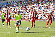 Tomer Hemed of Brighton & Hove Albion scores from the penalty spot during the Pre-Season Friendly match between Brighton and Hove Albion and Sevilla at the American Express Community Stadium, Brighton and Hove, England on 2 August 2015. Photo by Phil Duncan.