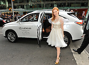 COMMERCIAL IMAGE - In this image provided by Lexus,  actress Jessica Chastain arrives in a Lexus at the 2012 CFDA Fashion Awards, Monday June 4, 2012 in New York. (Photo by Diane Bondareff/Invision for Lexus)