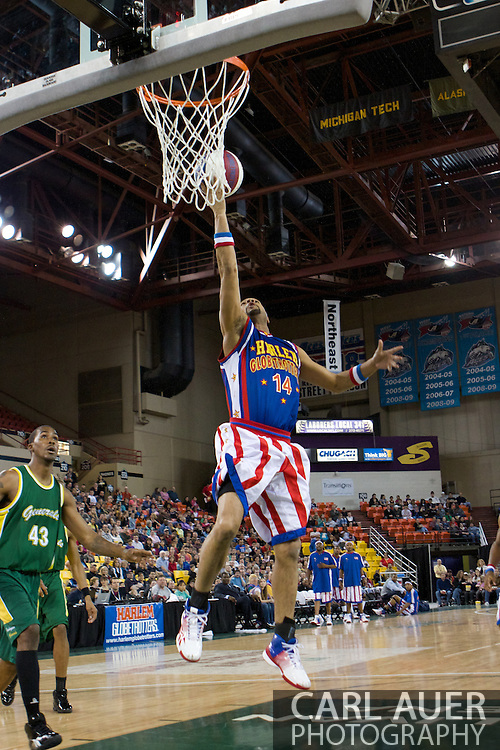April 30th, 2010 - Anchorage, Alaska:  Handles Franklin (14) of the World Famous Harlem Globetrotters finger rolls a shot during the expected thumping of the Washington Generals.
