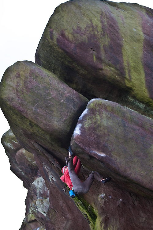 Tom Randall soloing 'Ray's Roof' E7 6c at the Baldstones, Staffordshire, England