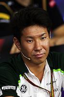 Kamui Kobayashi (JPN) Caterham in the FIA Press Conference.<br /> Japanese Grand Prix, Thursday 2nd October 2014. Suzuka, Japan.