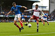 Paul Taylor (10) of Bradford City on the attack with Christian Burgess (6) of Portsmouth close by during the EFL Sky Bet League 1 match between Portsmouth and Bradford City at Fratton Park, Portsmouth, England on 28 October 2017. Photo by Graham Hunt.