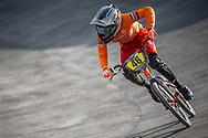 #46 during practice at the 2018 UCI BMX World Championships in Baku, Azerbaijan.