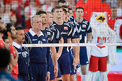 13.09.2014, Luczniczka Hall, Bydgoszcz, POL, FIVB WM, Polen vs Iran, 2. Runde, Gruppe E, im Bild Reprezentacja Polski // during the FIVB Volleyball Men's World Championships 2nd Round Pool E Match beween Poland and Iran at the Luczniczka Hall in Bydgoszcz, Poland on 2014/09/13. EXPA Pictures © 2014, PhotoCredit: EXPA/ Newspix/ Mariusz Palczynski<br /> <br /> *****ATTENTION - for AUT, SLO, CRO, SRB, BIH, MAZ, TUR, SUI, SWE only*****