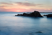 misty waves at Corona Del Mar beach Newport Beach California USA