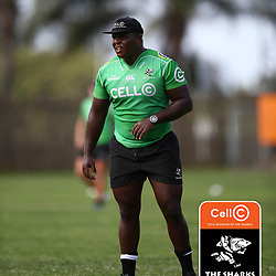 Khutha Mchunu of the Cell C Sharks during The Cell C Sharks training session at Jonsson Kings Park Stadium in Durban, South Africa. 6th February 2019 (Photo by Steve Haag)