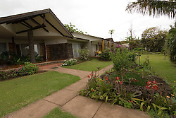 Chile, Easter Island:  Grounds of Hotel Otai in Hanga Roa..Photo #: ch344-33553.Photo copyright Lee Foster www.fostertravel.com lee@fostertravel.com 510-549-2202