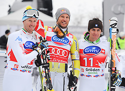 14.12.2012, Sasslong, Groeden, ITA, FIS Weltcup, Ski Alpin, Super G, Herren, Podium, im Bild v.l.n.r. Matteo Marsaglia (ITA, Platz 2), Aksel Lund Svindal (NOR, Platz 1) und Werner Heel (ITA, Platz 3) // f.l.t.r. 2nd place Matteo Marsaglia of Italy, 1st place Aksel Lund Svindal of Norway and 3th place Werner Heel of Italy celebrate on Podium of Super G of the FIS Ski Alpine Worldcup at Sasslong course, Groeden, Italy on 2012/12/14. EXPA Pictures © 2012, PhotoCredit: EXPA/ Erich Spiess