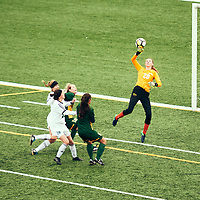 1st year goalkeeper, Kylie Bolton (20) of the Regina Cougars during the Women's Soccer home game on Sun Sep 23 at U of R Field. Credit: Arthur Ward/Arthur Images