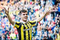 ARNHEM - Vitesse - FC Groningen , Voetbal , Eredivisie, Seizoen 2015/2016 , Gelredome , 03-10-2015 , Vitesse speler Nathan de Souza scoort de 4-0 en viert dit met de supporters
