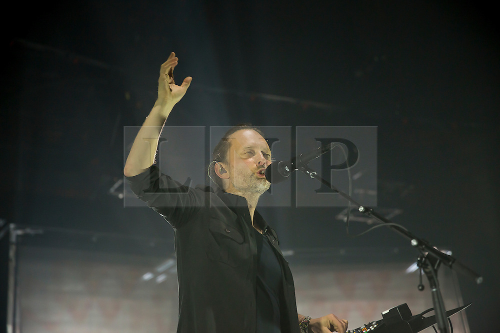 © Licensed to London News Pictures. 27/04/2016. London, UK. THOM YORKE performing with Radiohead at the Roundhouse in London on May 27, 2016. Photo credit: Colin Hart/LNP