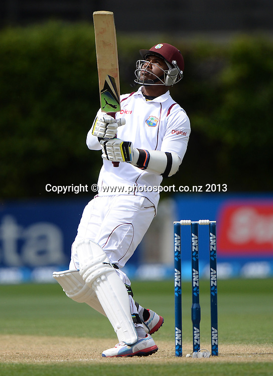 Marlon Samuels batting on Day 3 of the 2nd cricket test match of the ANZ Test Series. New Zealand Black Caps v West Indies at The Basin Reserve in Wellington. Friday 13 December 2013. Mandatory Photo Credit: Andrew Cornaga www.Photosport.co.nz