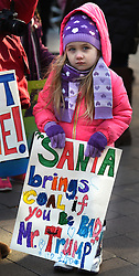 "December 10, 2016 - Washington, DC, USA - Children's Rally for Kindness takes place at Trump International Hotel in Washington DC on December 10, 2016 organized by the Takoma Parents Action Coalition.  According to their FaceBook page, it was a call to President-elect Donald Trump: ''to remember these lessons as he prepares to take office and implement policies that will affect the lives of children and families across our diverse nation.''.''All over the world, across cultures and countries, children learn the same basic lessons: .Ã'be kind,Ã"" .Ã'tell the truth,Ã"" .Ã'be fair,Ã"" .Ã'respect everyone,Ã"" .Ã'treat others the way you want to be treated,Ã"" .Ã'donÃ•t touch others if they donÃ•t want to be touched. (Credit Image: © Carol Guzy via ZUMA Wire)"