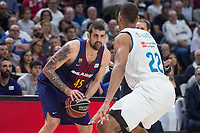 Real Madrid Walter Tavares and FC Barcelona Lassa Adrien Moerman during Liga Endesa match between Real Madrid and FC Barcelona Lassa at Wizink Center in Madrid, Spain. November 12, 2017. (ALTERPHOTOS/Borja B.Hojas)