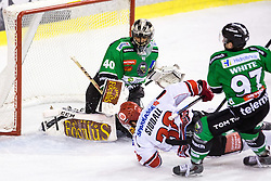 28.09.2014, Hala Tivoli, Ljubljana, SLO, EBEL, HDD Telemach Olimpija Ljubljana vs HC TWK Innsbruck, 6. Runde, in picture Matt White (HDD Telemach Olimpija, #29) trips Matt Siddall (HC TWK Innsbruck, #39) during the Erste Bank Icehockey League 6. Round between HDD Telemach Olimpija Ljubljana and HC TWK Innsbruck at the Hala Tivoli, Ljubljana, Slovenia on 2014/09/28. Photo by Matic Klansek Velej / Sportida