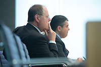 """15 MAY 2012, BERLIN/GERMANY:<br /> Peer Steinbrueck (L), SPD, Bundesminister a.D., Sigmar Gabriel (R), SPD Parteivorsitzender, Pressekonferenz zum Thema """" Der Weg aus der Krise – Wachstum und Beschäftigung in Europa"""", Bundespressekonferenz<br /> IMAGE: 20120515-01-039<br /> KEYWORDS: Peer Steinbrück"""