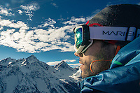 Navid Saleki, a Sweedish athlete, as seen during a snowboard training session above Pila, Aosta Valley, Italy.