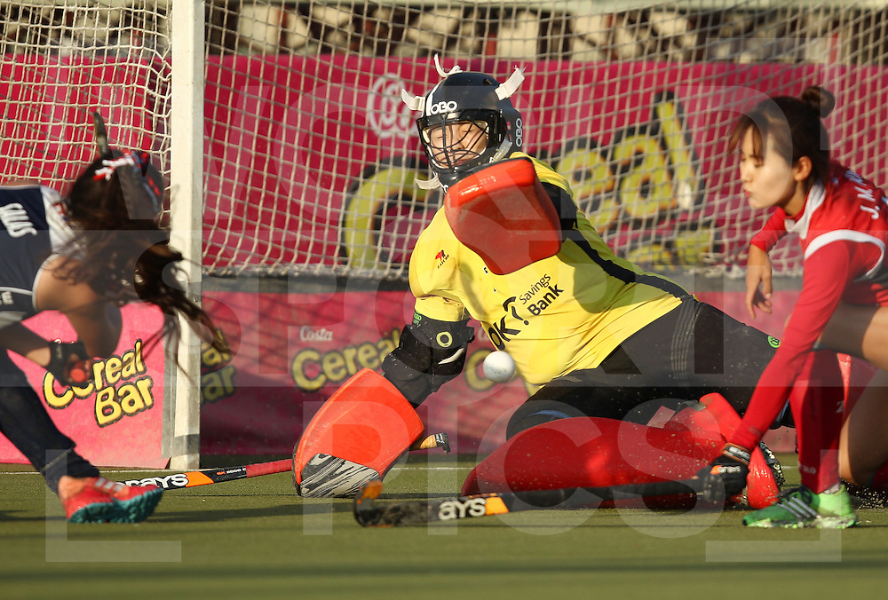 SANTIAGO - 2016 8th Women's Hockey Junior <br /> World Cup<br /> 41 KOR v CHI (11 / 12 Place)<br /> foto: Sachi Ananias (Gk)  , Eunhee Lim (Gk)  Jin Mi Kim <br /> FFU PRESS AGENCY COPYRIGHT FRANK UIJLENBROEK