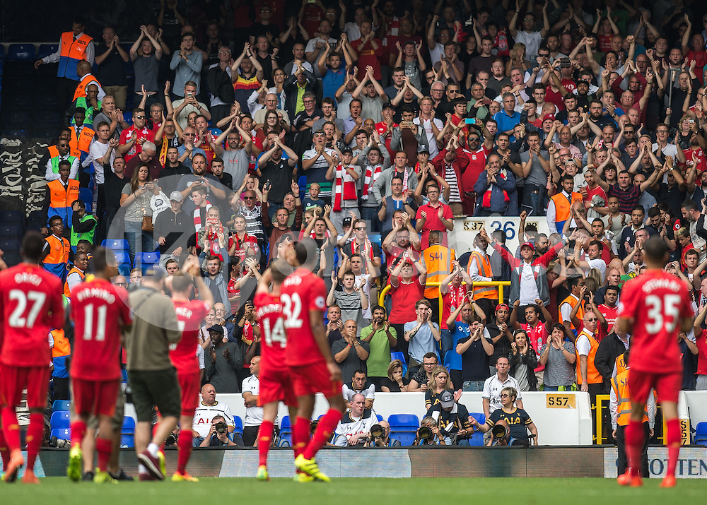 Liverpool player applaud their fans after the Premier League match between Tottenham Hotspur and Liverpool at White Hart Lane, London, England on 27 August 2016. Photo by Vince  Mignott.
